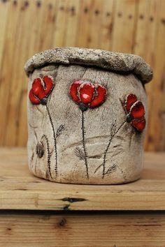 Wooden spruce tree with poppies II. / Seller's goods Ceramic Po ...   - Handgefertigte Produktion und mehr