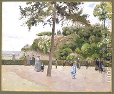 Camille Pissarro: The Public Garden at Pontoise 1874 - reproduction oil painting