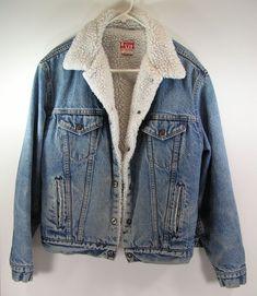 fa21cd2b8f7 vintage levis denim jacket mens 42 L sherpa lined insulated blue jean  cowboy  Levis