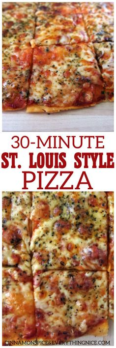 One of the quickest homemade pizzas you can make being the crust doesn't have yeast in it and it takes all of 12 minutes to bake! 30-Minute St.Louis-Style Pizza #30minutemeal #easyrecipes