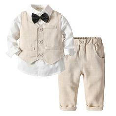 Dinlong Toddler Baby Boys Girl Clothes Solid Pocket Pants Trousers Gentleman Outfits