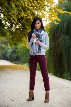 Burgundy and Gray – gray crewneck sweater, a checkered gray scarf, a pair of burgundy pants and brown ankle booties. Ankle Pants Outfit, Burgundy Pants Outfit, Brown Ankle Boots Outfit, Ankle Booties, Fall Booties, Red Pants, Fall Shoes, Booties Outfit, Outfit