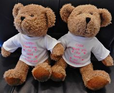 Pink text on our lovely printed t shirts for our wedding bears! Great gifts for flower girls and page boys!