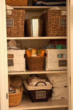 Domestic Fashionista : An Organized Hall Closet Hall Closet Organization, Home Organisation, Closet Storage, Life Organization, Rearranging Furniture, Hallway Closet, Organizing Your Home, Organizing Ideas, Home Hacks