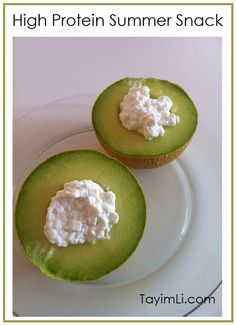 High Protein Snack: Melon & Cottage Cheese - don't know if I'd like these together but I love them separately!