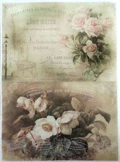 Rice Decoupage Paper / Decoupage Sheets  / Scrapbooking / OLD ROSES / Vintage