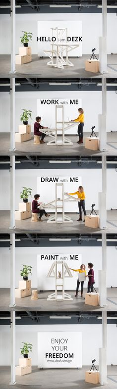 Flexible Furniture Design by Architecture and Design firm Atelier to the Bone. With the DEZK you can Work, Draw and Paint. Stand or Sit. Enjoy your freedom!