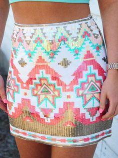 Aztec Red Sequin Skirt