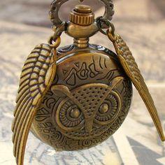 $19.99 Etsy! LEGENDARY Steampunk  Flying OWL pocket WATCH necklace steampunk pocket watch Necklace key pirate Victorian locket pendant charm. $19.99, via Etsy.