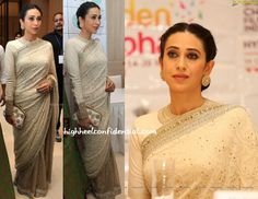 Karisma also joined Kareena at the opening ceremony of the International Children's Film Festival but while the latter did a lot of color, Karisma went the regal route wearing a Sabyasachi sari with a matching long-sleeve blouse. It was a classic look and one that I really liked! You? Karisma Kapoor at International Children's Film …
