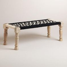 Black and White Wood and Fabric Bench | World Market