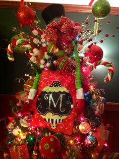 My Christmas Tree Topper This Year...added an Evergreen Monogram Christmas Garden Flag to it.