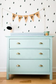 blue changing table