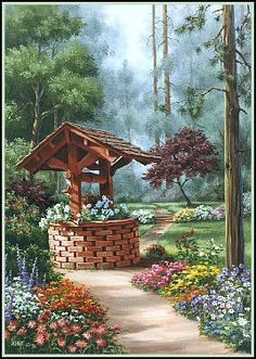 Wishing Well - oil painting by Judy Sleight