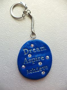 Blue and silver hand crafted polymer clay and swarovski keyring by Bratatouche, £6.95