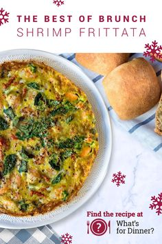 Basil and sun-dried tomatoes in fluffy eggs are even better with shrimp and a side of Sister Schubert's® Wheat Dinner Yeast Rolls. Learn how to make the most out of Holiday Brunch this year at WhatsForDinner.com.