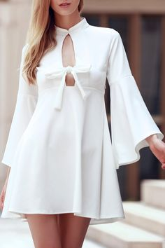 Flare Sleeve Cutout Swing Dress WHITE: Casual Dresses | ZAFUL