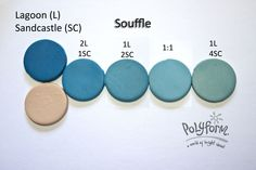Lagoon & Sandcastle (Souffle) polymer clay color recipe by Syndee Holt for Polyform ~ Polymer Clay Color Mix Polymer Clay Recipe, Polymer Clay Ornaments, Polymer Clay Tools, Polymer Clay Canes, Polymer Clay Necklace, Polymer Clay Projects, Handmade Polymer Clay, Diy Clay, Resin Crafts