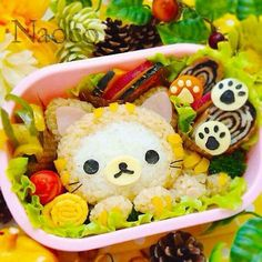 ✯•-- Japanese ♨ Food & Cuisine --•✯ cat themed bento made with vegetables, rice, and egg, kawaii neko bento snack
