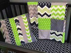 Custom Crib Bedding Set Made to Order Lime by PishPoshPolkaDot