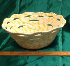 Yellow and White Wrapped and Coiled Fabric by MagicThimbleBoutique