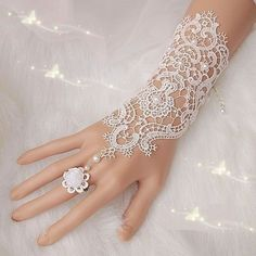 Bride White Gloves Beads Embroidery Beaded Short Wedding Dress Bridal Gloves JH