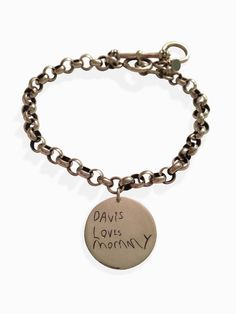 Handwriting signature engraved silver charm bracelet (up to 10 letters)