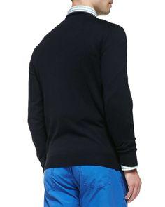 Tipped Crewneck Sweater, Navy