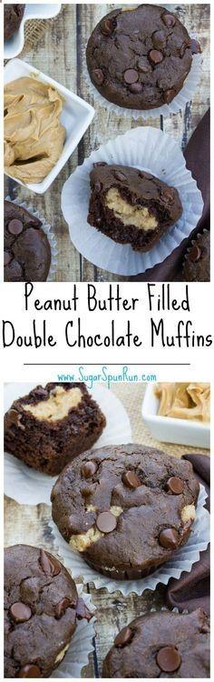 Peanut Butter Filled Double Chocolate Muffins SugarSpunRun