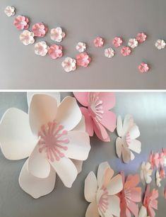 Made by DragonOnTheFly, these delicate cherry blossom flowers are made from paper, allowing them to be placed in different arrangements depending on the room. Cherry Blossom Decor, Cherry Blossom Party, Cherry Blossom Watercolor, Cherry Blossoms, Paper Flowers Craft, Paper Flower Wall, Paper Flower Backdrop, Flower Crafts, Paper Wall Art