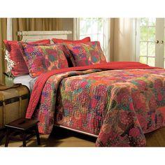 WHAAA??? Kantha-inspired bedding at WAL MART? Global Trends Josie Bedding Quilt Set - Walmart.com