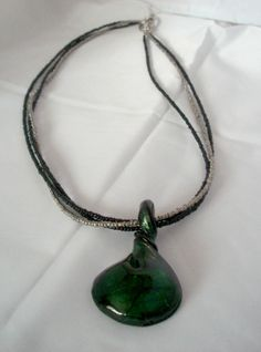 Green and Black Twisted Glass Pendant Necklace by KristasJewellery, $22.00