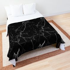 This is a comfortable comforter and is also cute. It features a black marble design and is very aesthetic. Marble Comforter, Black Comforter, Blanket Gifts, Cute Blankets, College Dorm Rooms, Black Marble, Square Quilt, Sell Your Art, Comforters