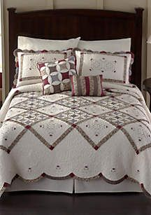 Nostalgia Claire Bedspread - Online Only Bedroom Comforter Sets, Linen Bedroom, Cleopatras Fan Quilt, Half Square Triangle Quilts Pattern, Designer Bed Sheets, Cathedral Window Quilts, Red And White Quilts, King Duvet Cover Sets, Quilted Pillow
