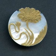 pearl button with art nouveau flower
