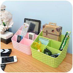 Imitation rattan multi-compartment storage box cosmetics, desktop remote control debris classification storage box K11