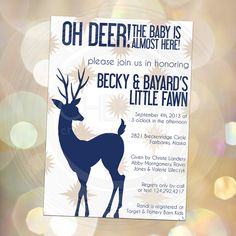 Oh Deer the Baby is Almost Here - Hunting Baby Shower - Announcement - Gender Neutral - Woodland Welcome - Party Invite Woods Boy by CherishByNoel, $13.00 cherishbynoel.etsy.com