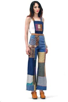 Lucy Patchwork Fitted Overalls: $98