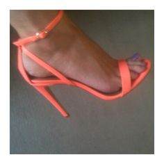 These coral strappy sandals would be awesome against tan legs during summer. Strappy Shoes, Sexy Heels, Hot Heels, Homecoming Shoes, Prom Shoes, Cute Shoes, Me Too Shoes, Beautiful High Heels, Dress And Heels