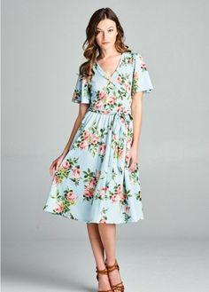 Adele Floral Dress (Light Blue)