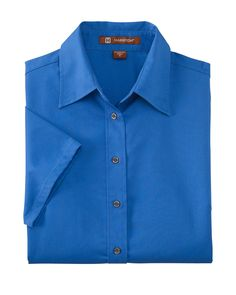 Harriton Womens Stain Release Twill Blend Short Sleeve Button Down Shirt M500SW