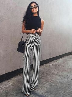 Black top and striped pants  Street style, street fashion, best street style, OOTD, OOTD Inspo, street style stalking, outfit ideas, what to wear now, Fashion Bloggers, Style, Seasonal Style, Outfit Inspiration, Trends, Looks, Outfits.