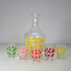 Vintage Decanter Set with Polka-dots