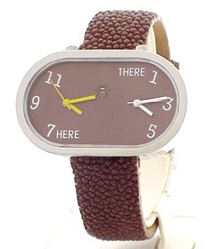 Travel Watch; ladies two dial, big face, Brown Sting Ray Double Timers Watches 55% off