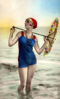 Deco French Flapper Blue Red Swimsuit Turban Fancy Parasol Art Photo Pin Up | eBay