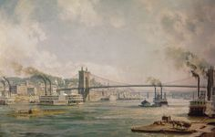 Cincinnati, Queen City of the West, in 1876. Located on the north bank of the OHIO where the river sweeps in a wide curve to the east, Cincinnati was a natural terminal point and gateway to the intricate navigable waterways of the Mississippi Basin. A historic 1,057-foot suspension bridge, designed and built by the famous John Roebling, was opened in 1867. It joins Cincinnati by road to its sister city, Covington, Kentucky.