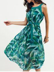 Stylish Feather Print Scoop Neck Belted Dress For Women (JADE GREEN,M) | Sammydress.com Mobile