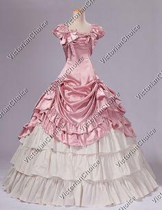 Southern Belle Civil War Satin Ball Gown Reenactment Dress Theatre Costume