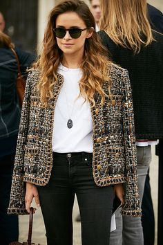 Black denim, white tee, tweed blazer.