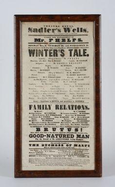 Original 1840's Shakespeare British Theatre Broadside - Sadler's Wells - London
